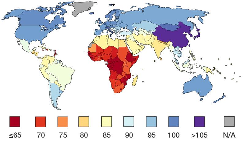 Carte mondiale du QI, quotient intellectuel, par pays